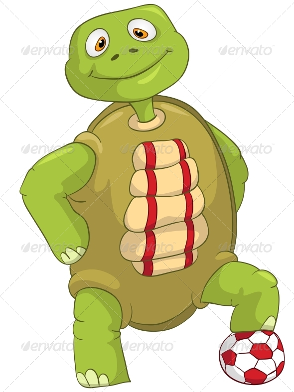 Funny Turtle. Soccer Player. - Animals Characters