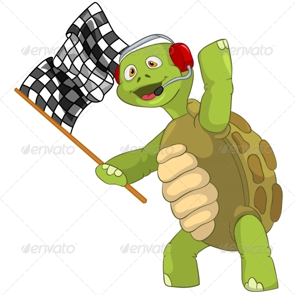 Turtle. Race Finish. - Animals Characters