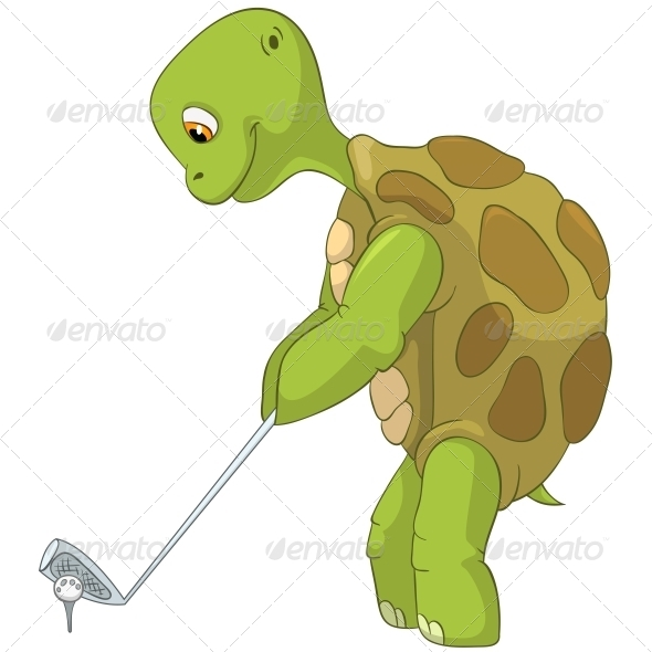 Turtle. Golf Player. - Animals Characters