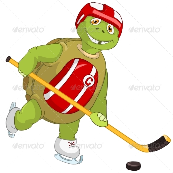 Turtle. Hockey Player. - Animals Characters