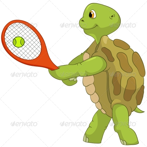Turtle. Tennis Player. - Animals Characters