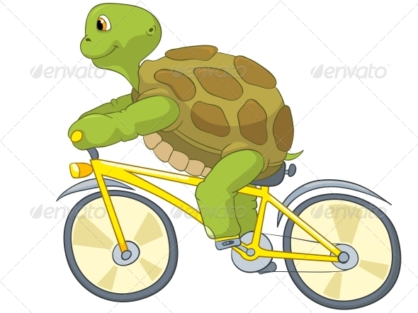 Turtle. Biker. - Animals Characters