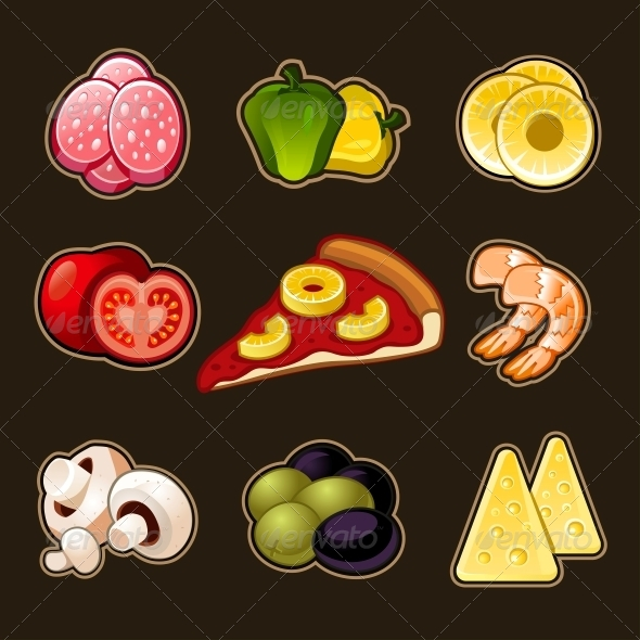 Pizza Icons Set - Food Objects