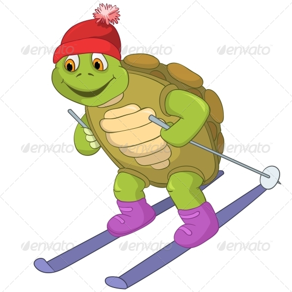 Turtle. Skiing. - Animals Characters