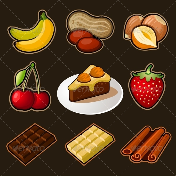 Fruit and Chocolate Icons Set - Food Objects