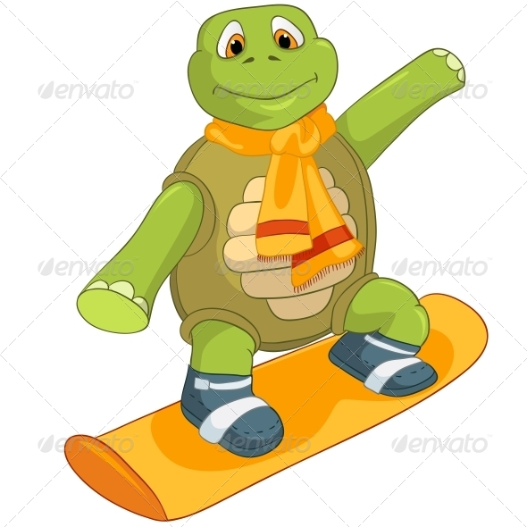 Turtle. Snowboarding. - Animals Characters