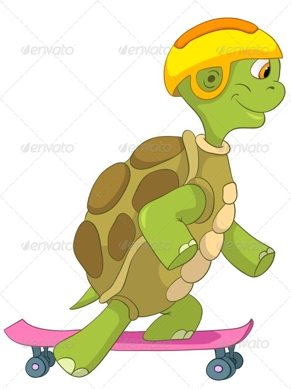 Turtle. Skateboarding. - Animals Characters