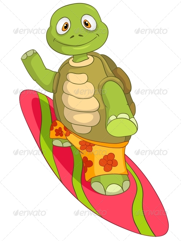 Turtle. Surfing. - Animals Characters