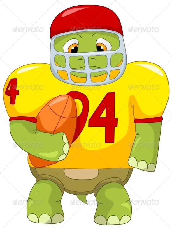Turtle. Rugby. - Animals Characters