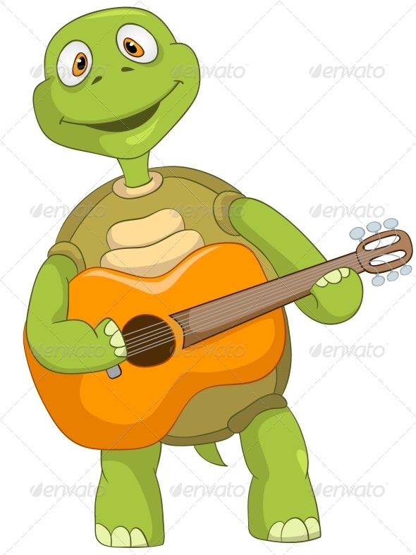 Turtle. Guitarist. - Animals Characters
