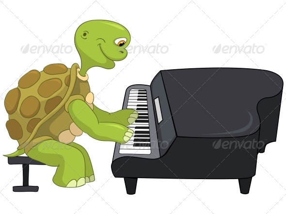 Turtle. Pianist. - Animals Characters