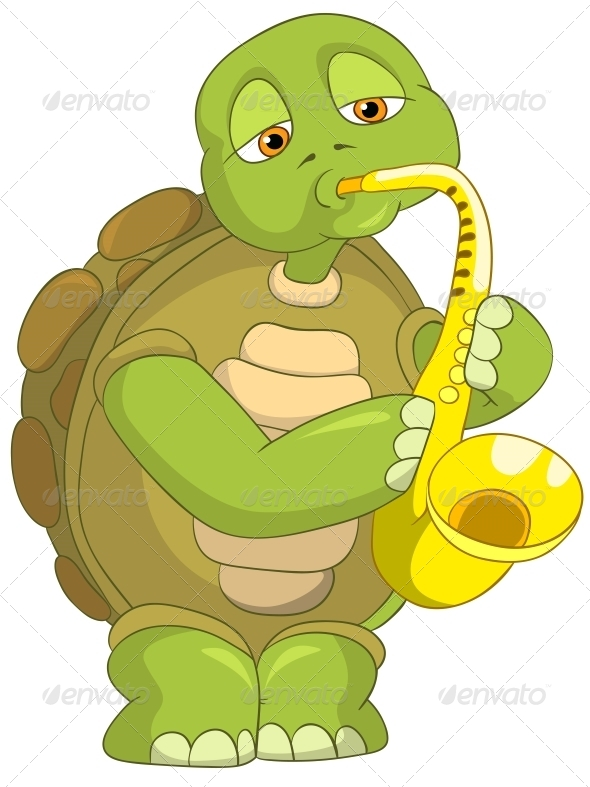 Turtle. Saxophonist. - Animals Characters