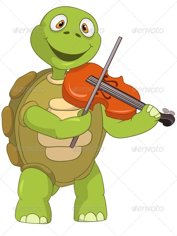 Turtle. Violinist. - Animals Characters