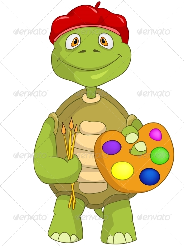 Turtle. Artist. - Animals Characters