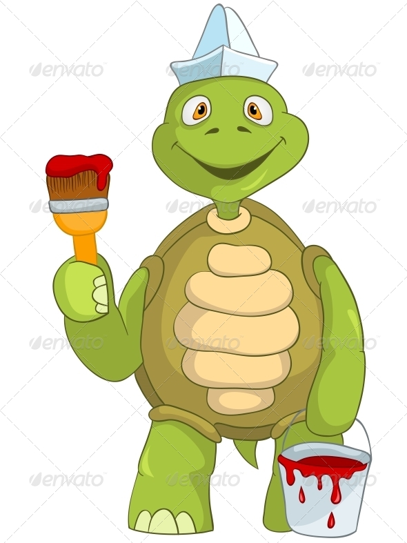 Turtle. Painter. - Animals Characters