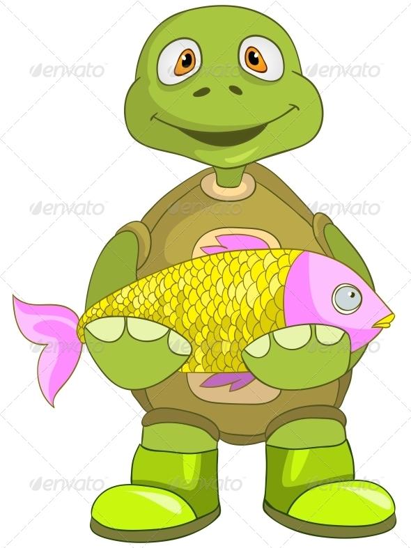 Turtle. Fisherman. - Animals Characters