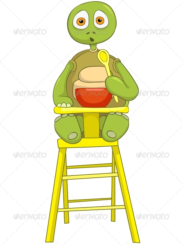 Turtle. Baby Eating. - Animals Characters