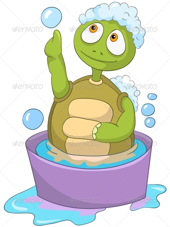 Turtle. Baby Washing - Animals Characters