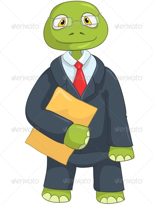 Turtle. Businessman - Animals Characters