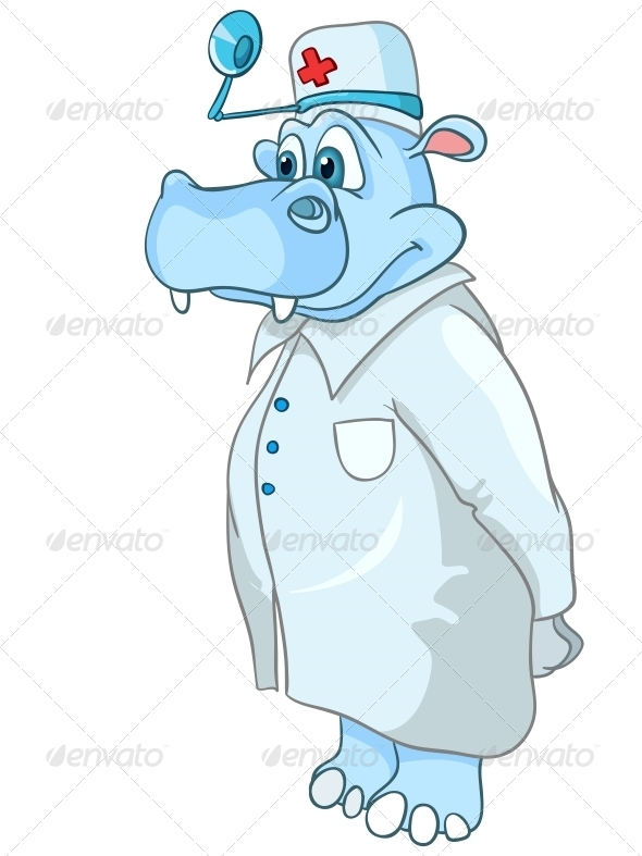 Cartoon Character Hippopotamus Doctor - Miscellaneous Characters