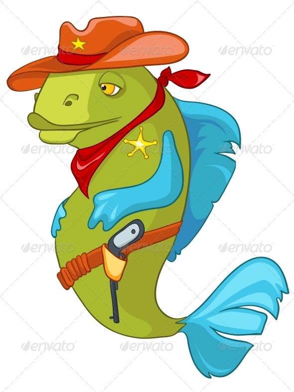 Cartoon Character Fish Sheriff - Animals Characters