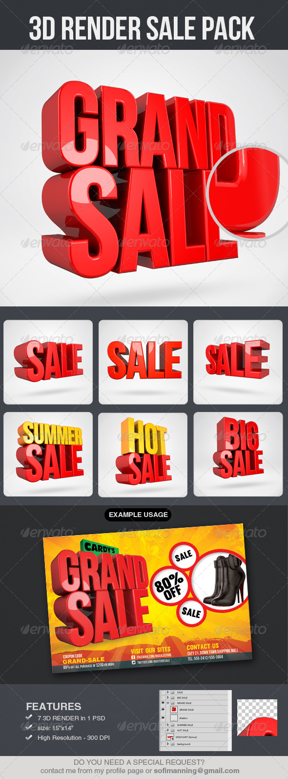 3D Render Sale Pack - Text 3D Renders