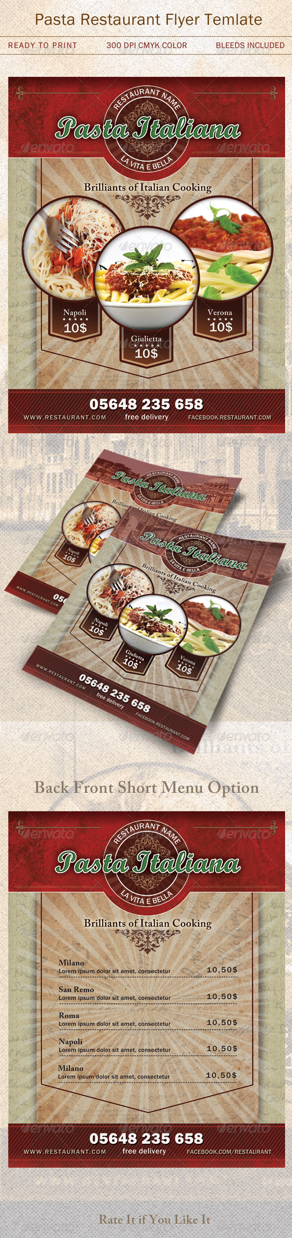 Pasta Restaurant Flyer Template - Restaurant Flyers