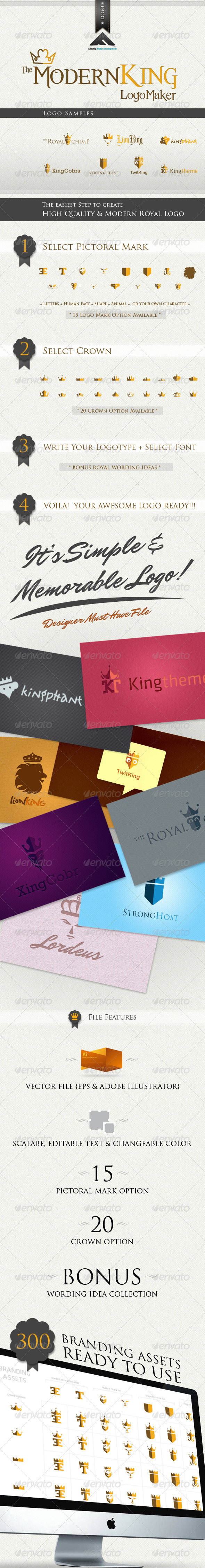 Modern King Logo Kit - Objects Logo Templates