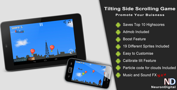 Tilting Side Scrolling Game - Promote Any Business - CodeCanyon Item for Sale