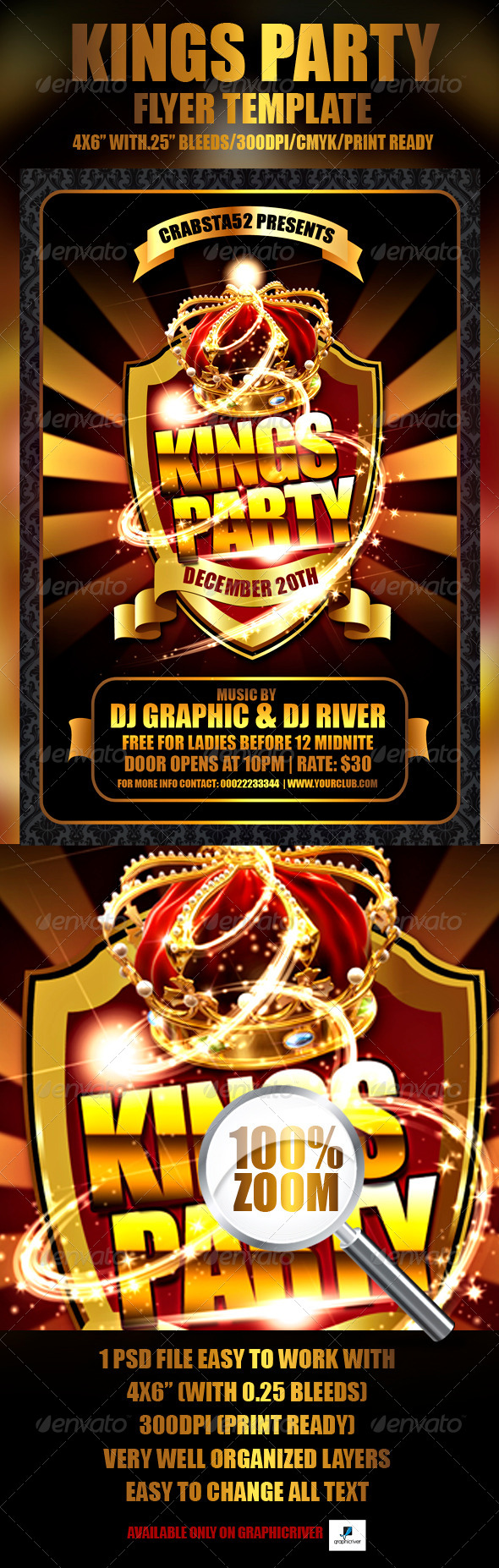 Kings Party Flyer Template - Clubs & Parties Events