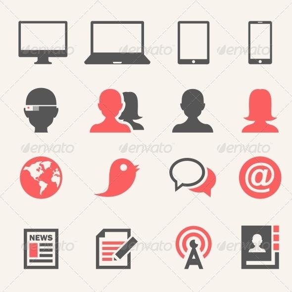Gadgets. Icon set - Web Elements Vectors