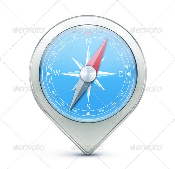 Map Location Pointer Icon - Conceptual Vectors