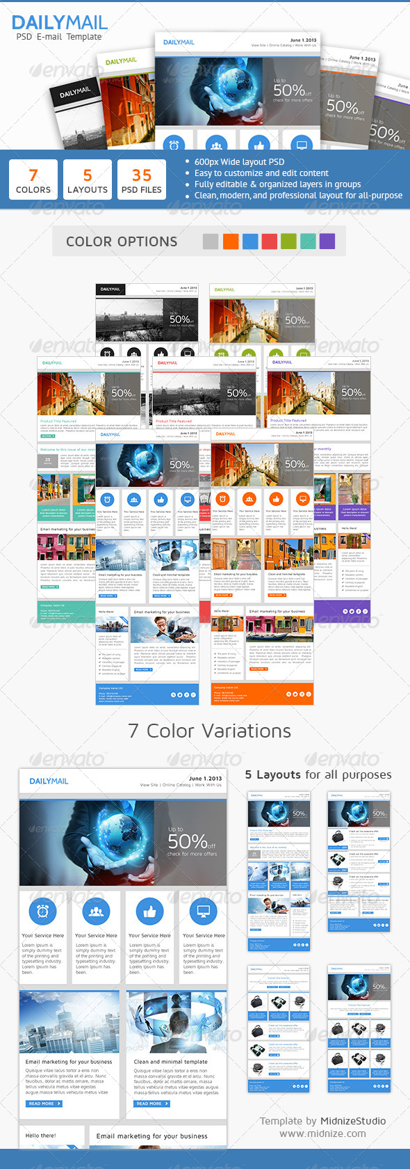 Daily Mail - Clean PSD Email Newsletter Template - E-newsletters Web Elements