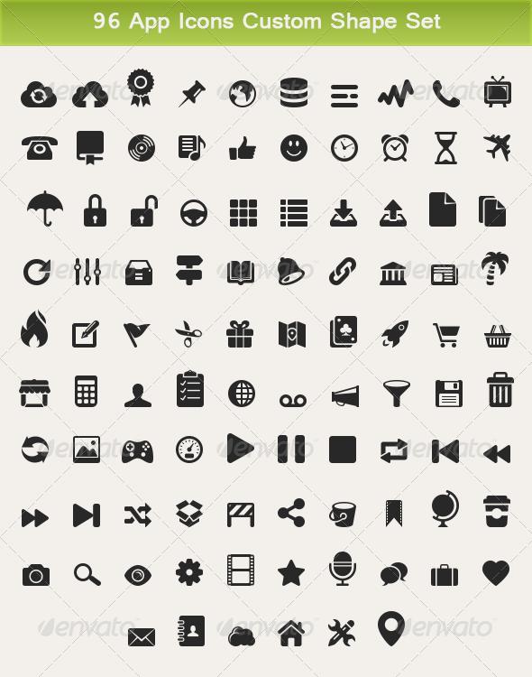 96 App Icons Custom Shape Set - Symbols Shapes