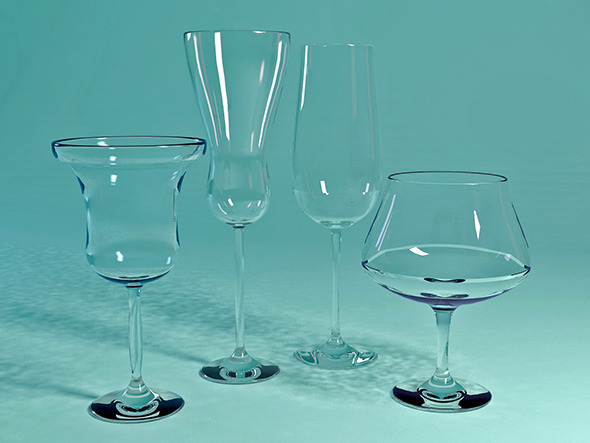 Four Different Glass Materials - 3DOcean Item for Sale