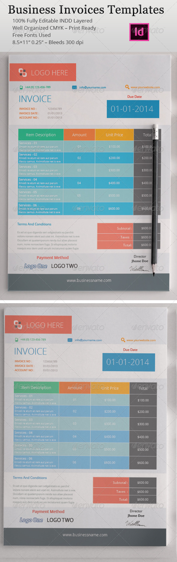 Business Invoices Templates by azadcsstune | GraphicRiver