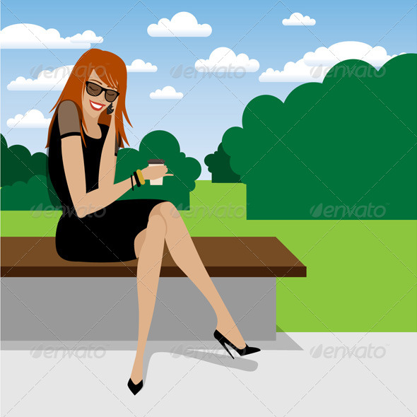 Girl Talking On The Phone In The Park - Vector Ill - People Characters