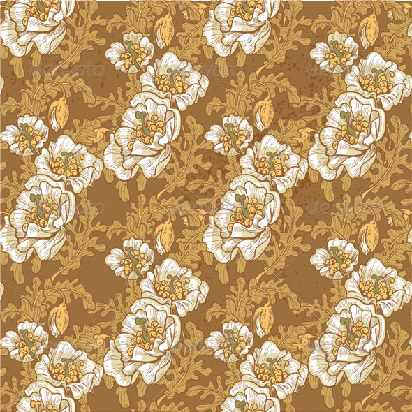 Seamless Pattern of Vintage White Poppies - Patterns Decorative