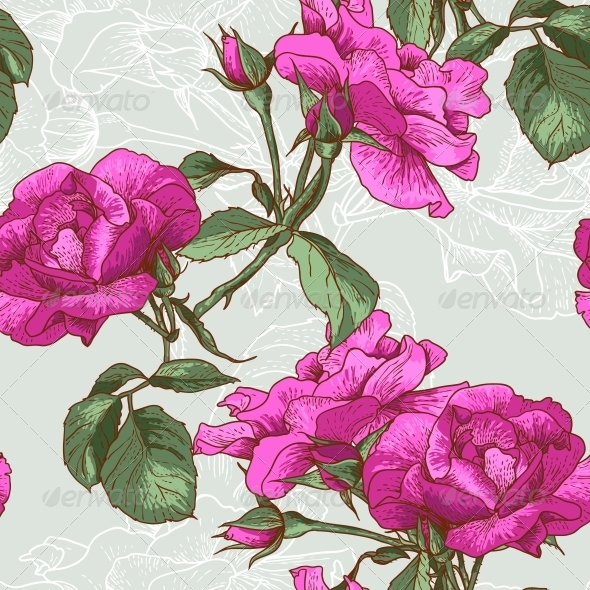 Seamless Rose Background - Backgrounds Decorative