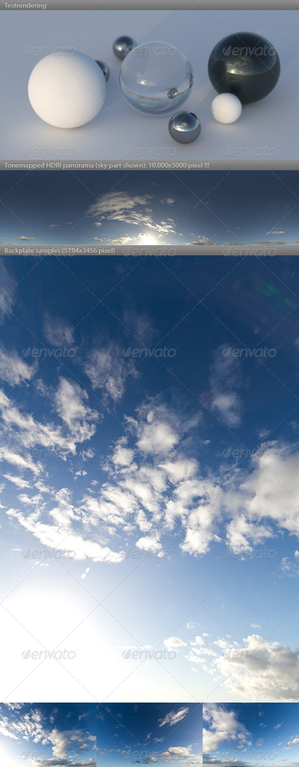 HDRI spherical sky panorama -1556- sun noon clouds - 3DOcean Item for Sale