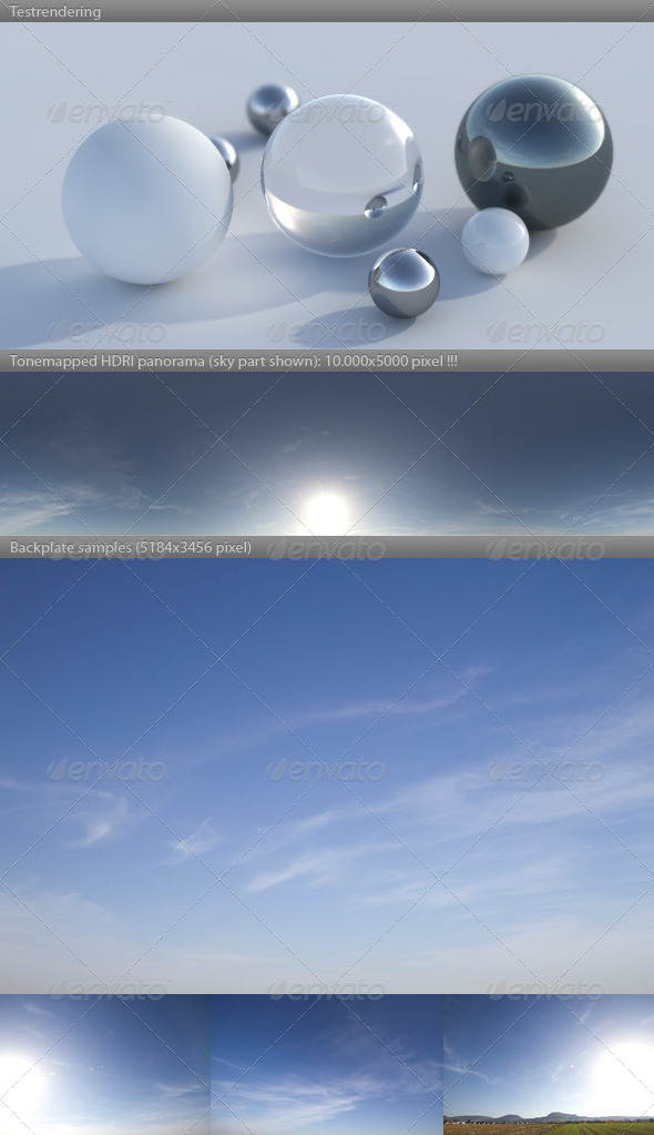 HDRI spherical sky panorama -1532- blue sun sky - 3DOcean Item for Sale