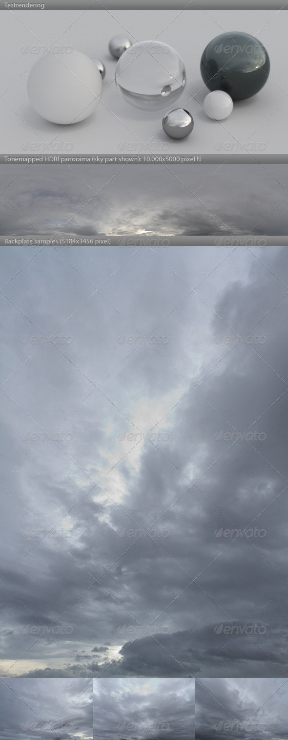 HDRI spherical sky panorama -1107- overcast sky - 3DOcean Item for Sale