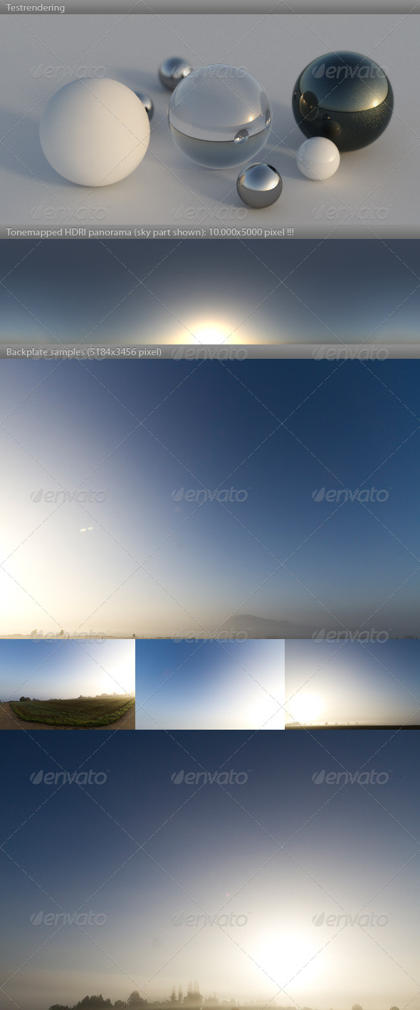 HDRI spherical sky panorama -0821- misty dawn sun - 3DOcean Item for Sale