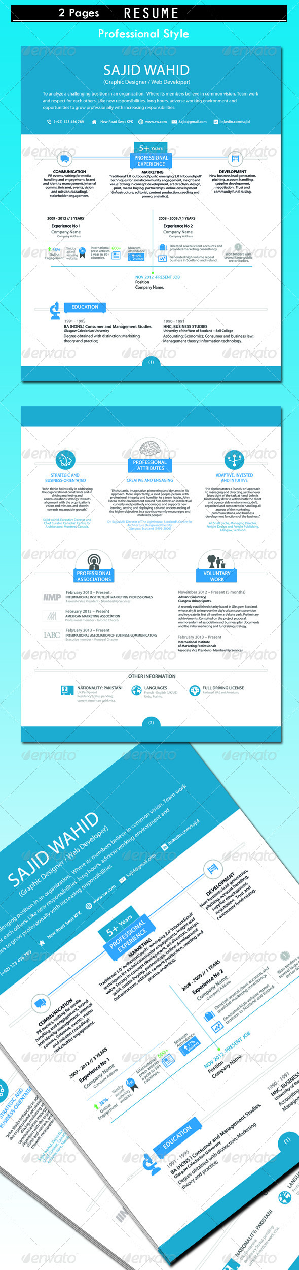 Clean Resume (2 Pages) - Resumes Stationery