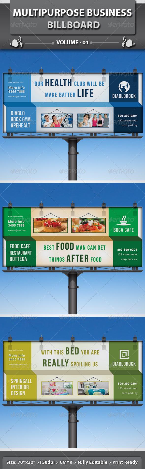 Multipurpose Business Billboard | Volume 1 - Signage Print Templates