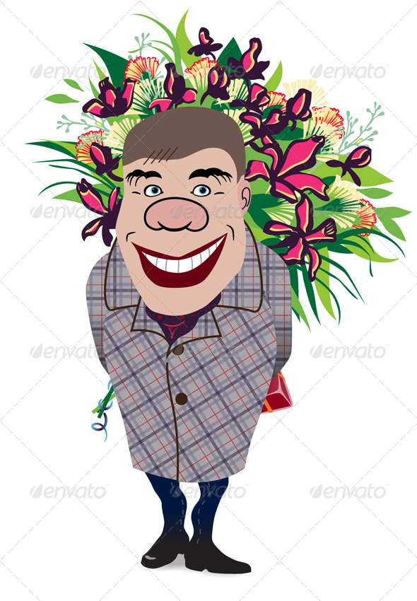 Smiling Romantic Man Giving Flowers - People Characters