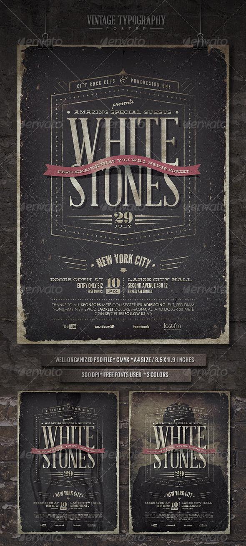 Vintage Typography Poster - V - Concerts Events