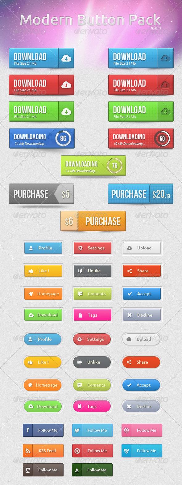 Modern Button Pack - Buttons Web Elements