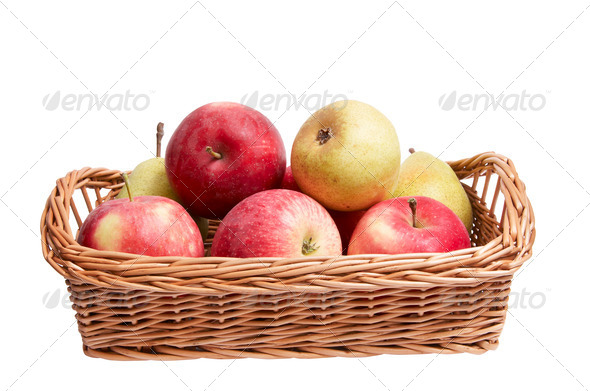 Autumn  basket with fruits on a white. - Stock Photo - Images