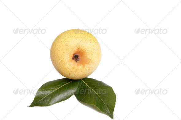 Tasty yellow pears on a white. - Stock Photo - Images